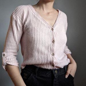 Light pink waffle knit cardigan